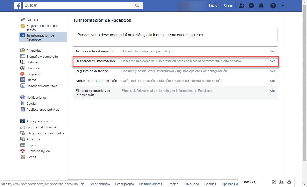 Recuperar fotos Facebook eliminadas
